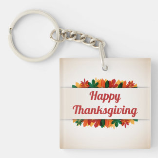 Colorful Leaves Happy Thanksgiving | Keychain