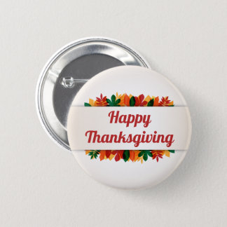 Colorful Leaves Happy Thanksgiving | Pin Button