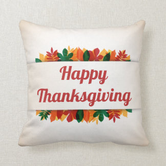 Colorful Leaves Happy Thanksgiving | Throw Pillow
