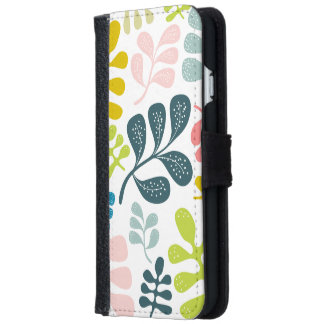 Colorful Leaves Modern Foliage Pattern iPhone 6 Wallet Case