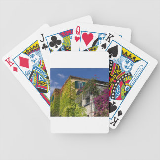 Colorful leaves on house bicycle playing cards