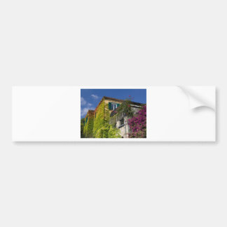 Colorful leaves on house bumper sticker