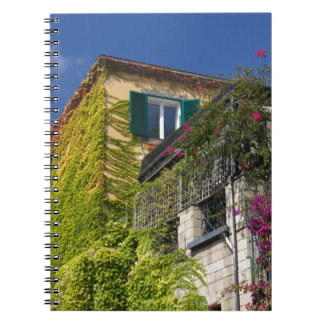 Colorful leaves on house notebook
