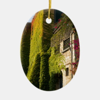 Colorful leaves on house walls ceramic ornament