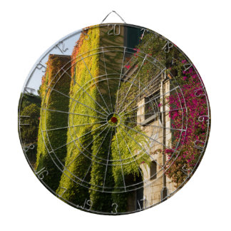 Colorful leaves on house walls dartboard