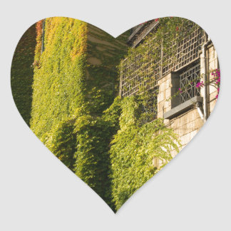 Colorful leaves on house walls heart sticker