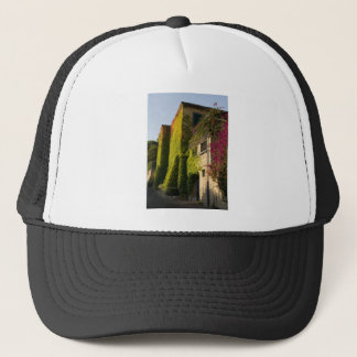 Colorful leaves on house walls trucker hat