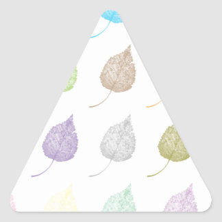 Colorful leaves pattern triangle sticker