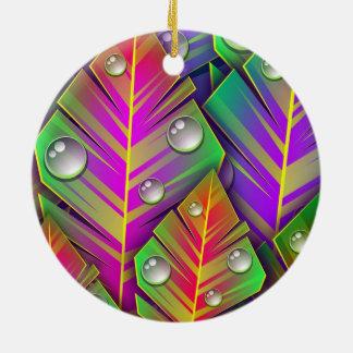 Colorful Leaves Round Ceramic Ornament