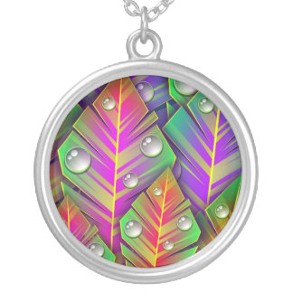 Colorful Leaves Silver Plated Necklace