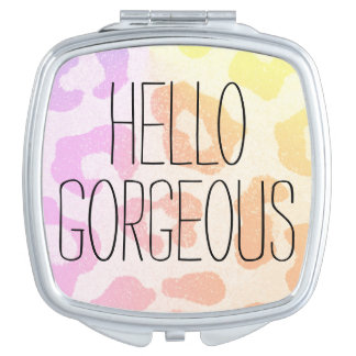 Colorful Leopard Print Hello Gorgeous Travel Mirrors