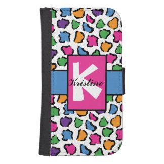 Colorful Leopard Print Wallet Phone Case Galaxy S4 Wallets