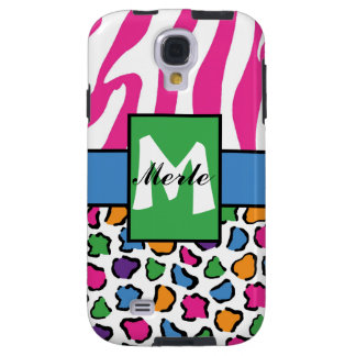 Colorful Leopard & Zebra Print Personalized 4S