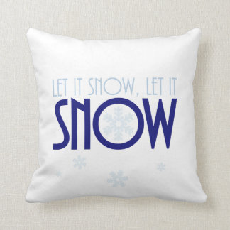 Colorful Let It Snow Christmas Throw Pillow