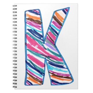 Colorful Letter K as in Kay Spiral Notebook