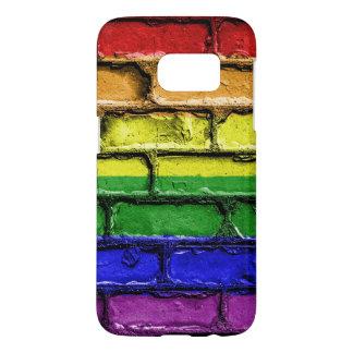 Colorful LGBT rainbow pride flag brick wall Samsung Galaxy S7 Case