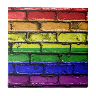 Colorful LGBT rainbow pride flag brick wall Tile