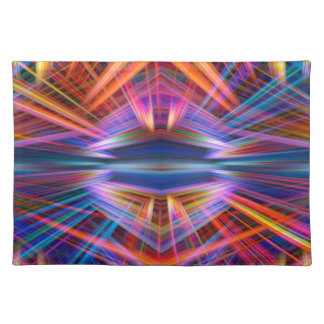Colorful light beams pattern placemat