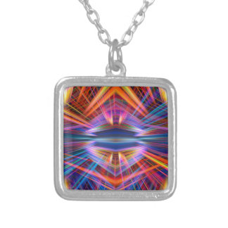 Colorful light beams pattern silver plated necklace