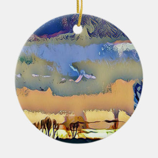 Colorful Light Fall Toned Abstract Horizon Sky Ceramic Ornament