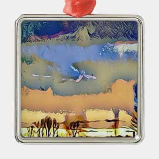 Colorful Light Fall Toned Abstract Horizon Sky Metal Ornament