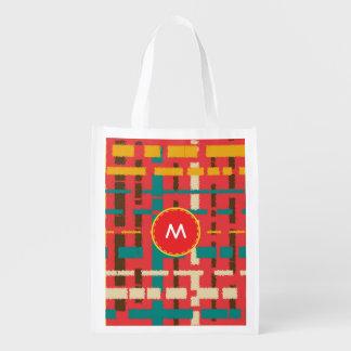 Colorful line segments reusable grocery bag