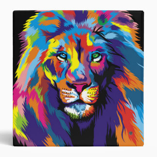 Colorful lion 3 ring binders