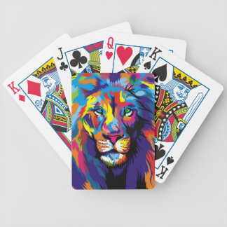 Colorful lion bicycle playing cards