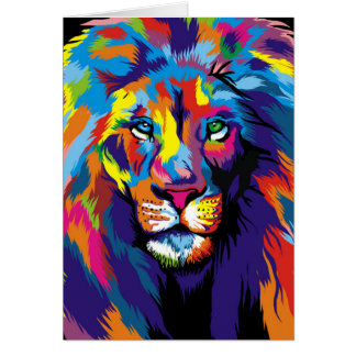 Colorful lion card