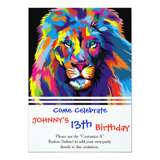 Colorful lion card