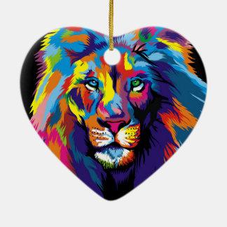Colorful lion ceramic ornament