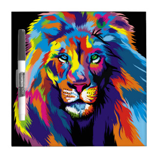 Colorful lion dry erase board