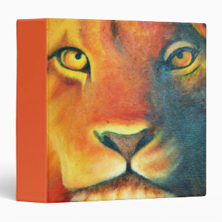 Colorful Lion Head Portrait Oil Painting Vinyl Binder