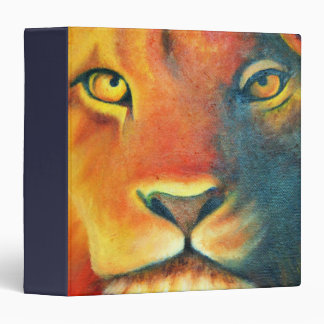 Colorful Lion Head Portrait Oil Painting Vinyl Binders