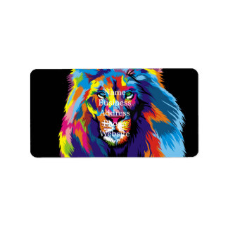 Colorful lion label