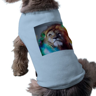 Colorful lion looking up Feathers Space Universe Doggie T Shirt