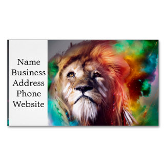 Colorful lion looking up Feathers Space Universe Magnetic Business Card