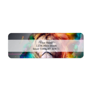 Colorful lion looking up Feathers Space Universe Return Address Label