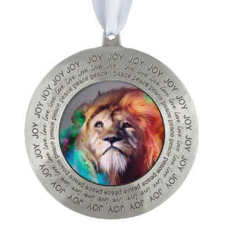 Colorful lion looking up Feathers Space Universe Round Pewter Ornament