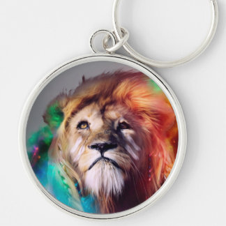 Colorful lion looking up Feathers Space Universe Silver-Colored Round Keychain