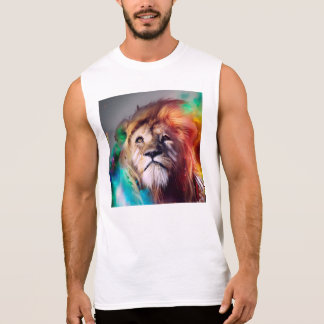Colorful lion looking up Feathers Space Universe Sleeveless Shirt