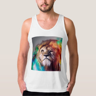 Colorful lion looking up Feathers Space Universe Tank Top