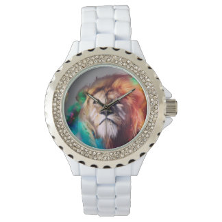 Colorful lion looking up Feathers Space Universe Watch