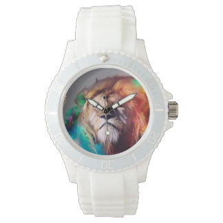 Colorful lion looking up Feathers Space Universe Wristwatch