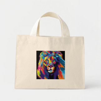Colorful lion mini tote bag