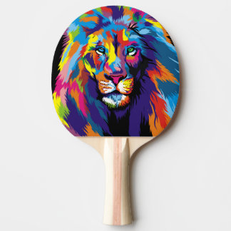 Colorful lion ping pong paddle