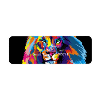Colorful lion return address label