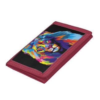 Colorful lion tri-fold wallet
