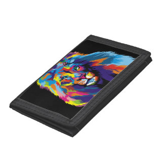 Colorful lion tri-fold wallet