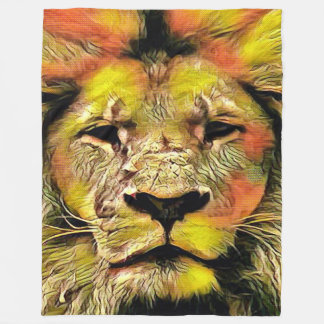 Colorful Lion Watercolor Art Fleece Blanket